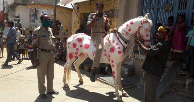 Foto Un polițist din India și-a vopsit calul cu imagini care imită aspectul coronavirusului 2 22.09.2021