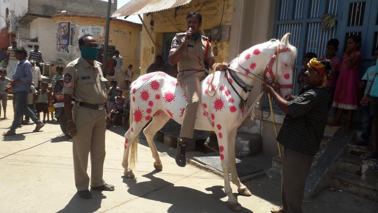 Foto Un polițist din India și-a vopsit calul cu imagini care imită aspectul coronavirusului 1 29.07.2021