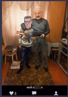 Foto Картофельный Рэмбо и белорусский Гном Гномыч. Реакция соцсетей на Лукашенко и Колю с автоматами 9 29.07.2021