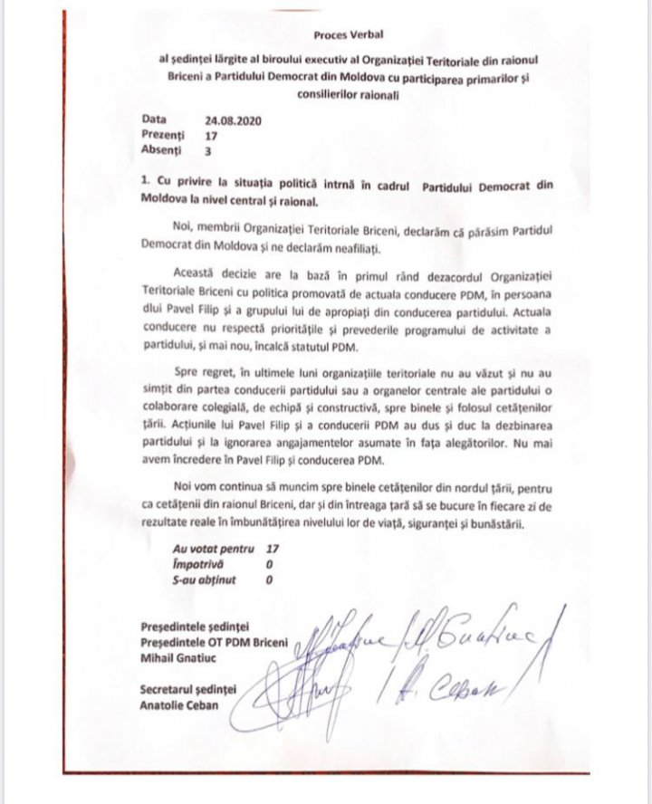 Membrii Organizației Teritoriale a PDM din Briceni au părăsit formațiunea în corpore 1 15.05.2021