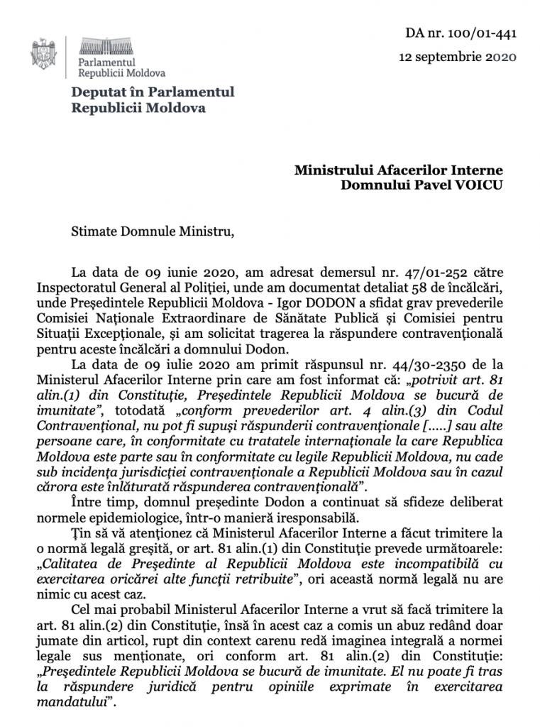 Foto Депутат PAS Думитру Алайба: Президент Республики Молдова Игорь Додон 58 раз нарушил решения Комиссии по чрезвычайным ситуациям 2 24.07.2021