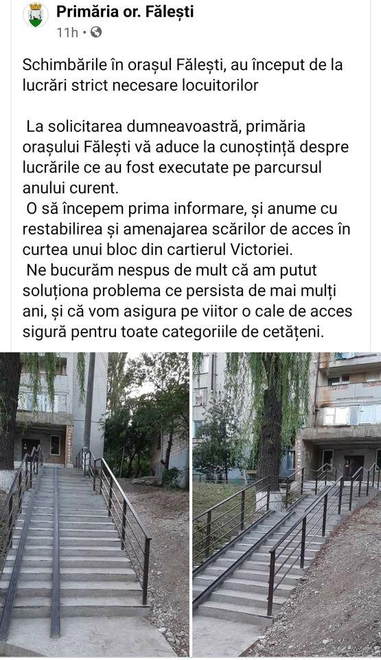 Foto Primăria orașului Fălești se laudă cu o rampă făcută de mântuială 2 05.08.2021