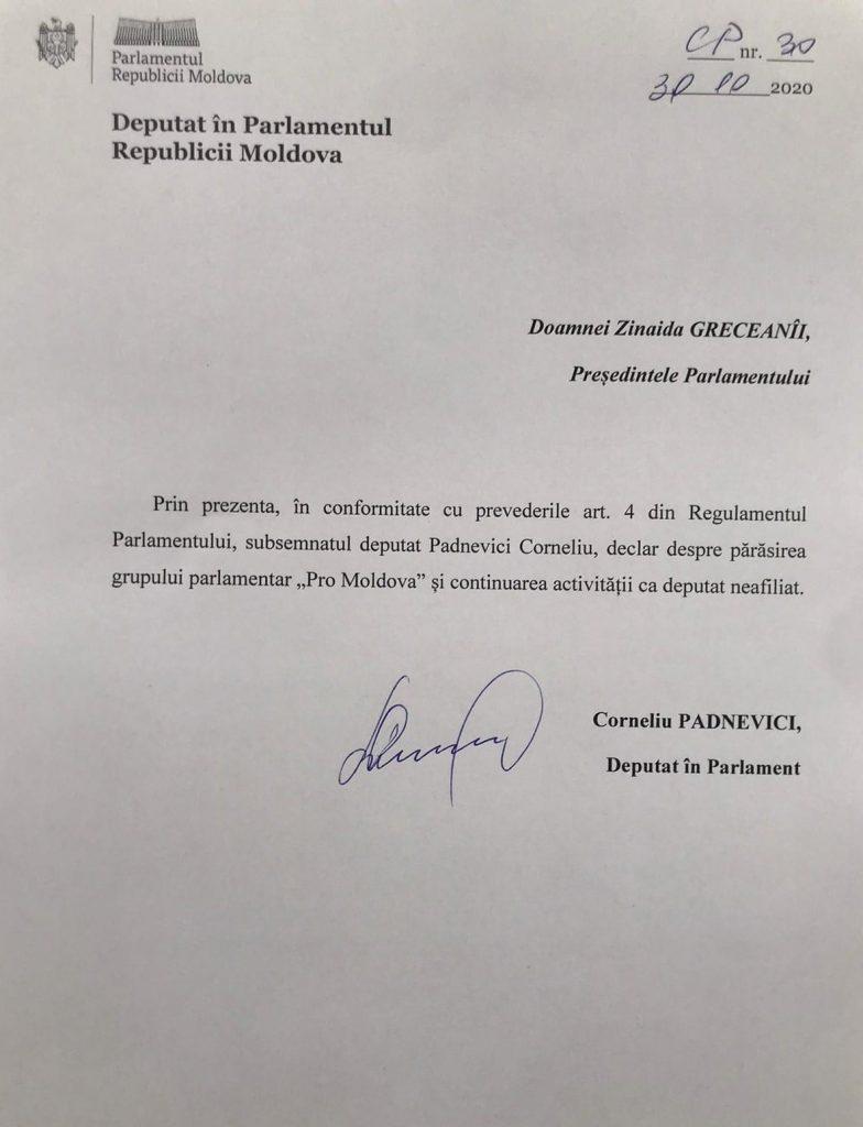 /DOC/ Un alt deputat din Pro Moldova s-a retras din partid 1