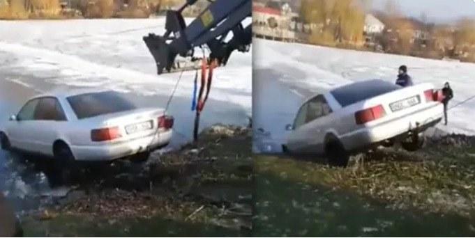"""/VIDEO/ Mașina """"NOE"""" scufundată sub gheața unui lac din raionul Fălești, a fost scoasă la mal"""