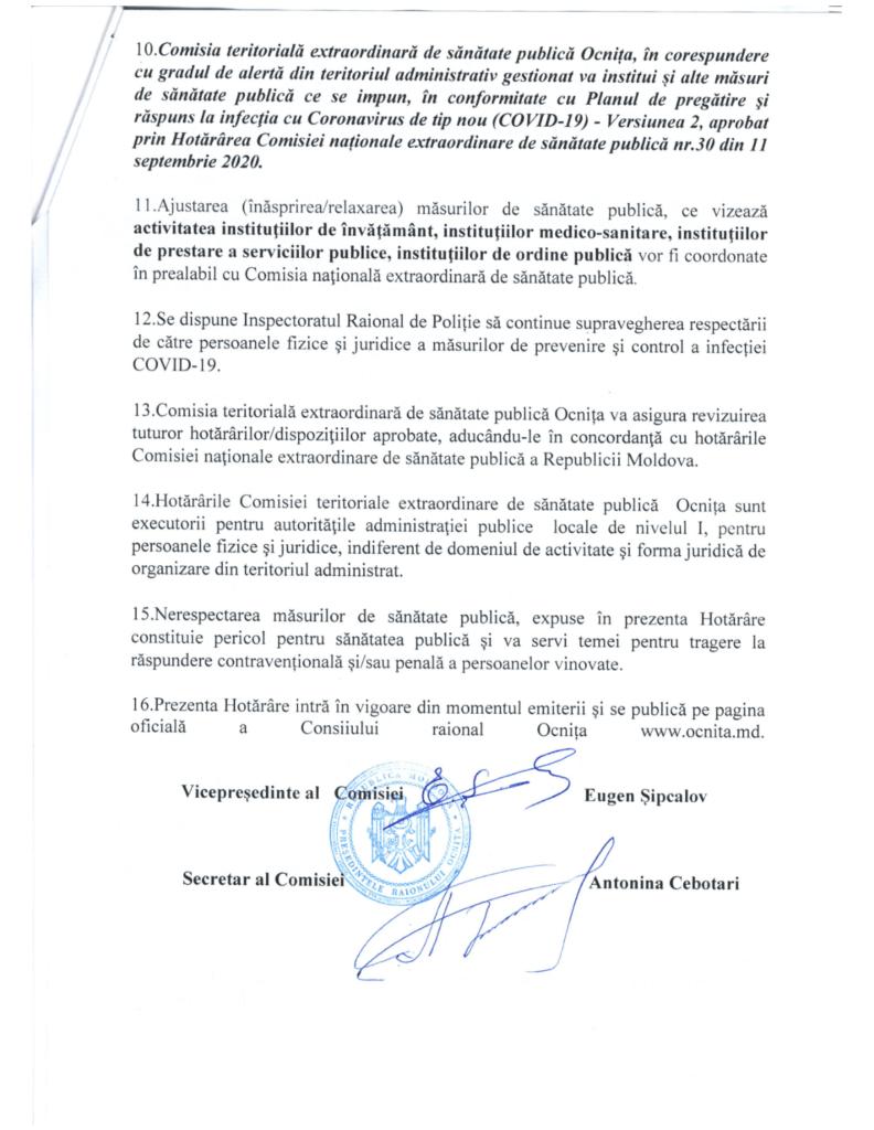 Foto /DOC/ Cinci localități din raionul Ocnița intră sub Cod Roșu COVID-19 4 01.08.2021