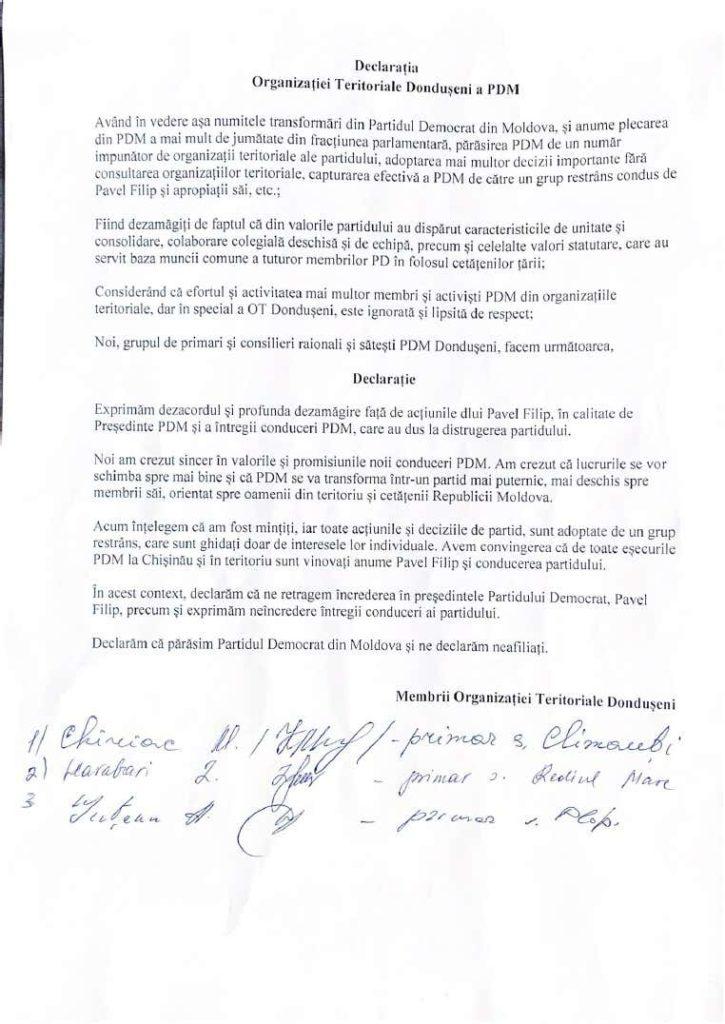 /DOC/ Mai mulți primari din raionul Dondușeni au părăsit Partidul Democrat 1 14.04.2021