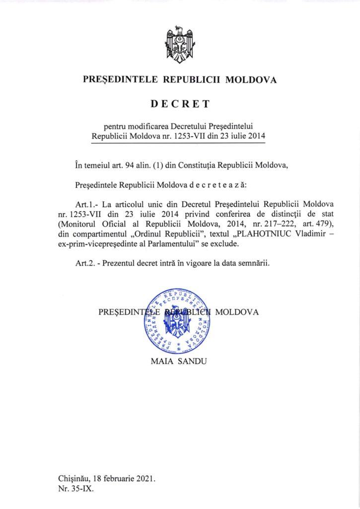 """/DOC/ Maia Sandu i-a retras lui Vladimir Plahotniuc distincția """"Ordinul Republicii"""" 1 18.04.2021"""