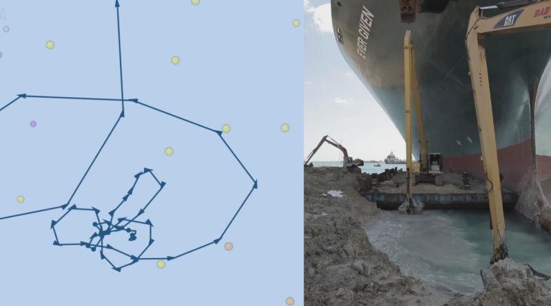 """Перед тем, как застрять в Суэцком канале, контейнеровоз """"нарисовал"""" своим маршрутом пенис и ягодицы (ФОТО) 22 14.04.2021"""