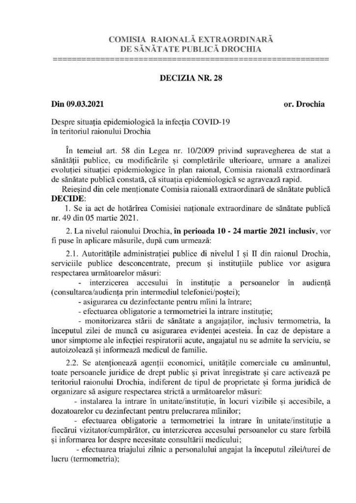 /DOC/ Șase localități din raionul Drochia intră sub Cod Roșu de COVID-19 1 14.04.2021