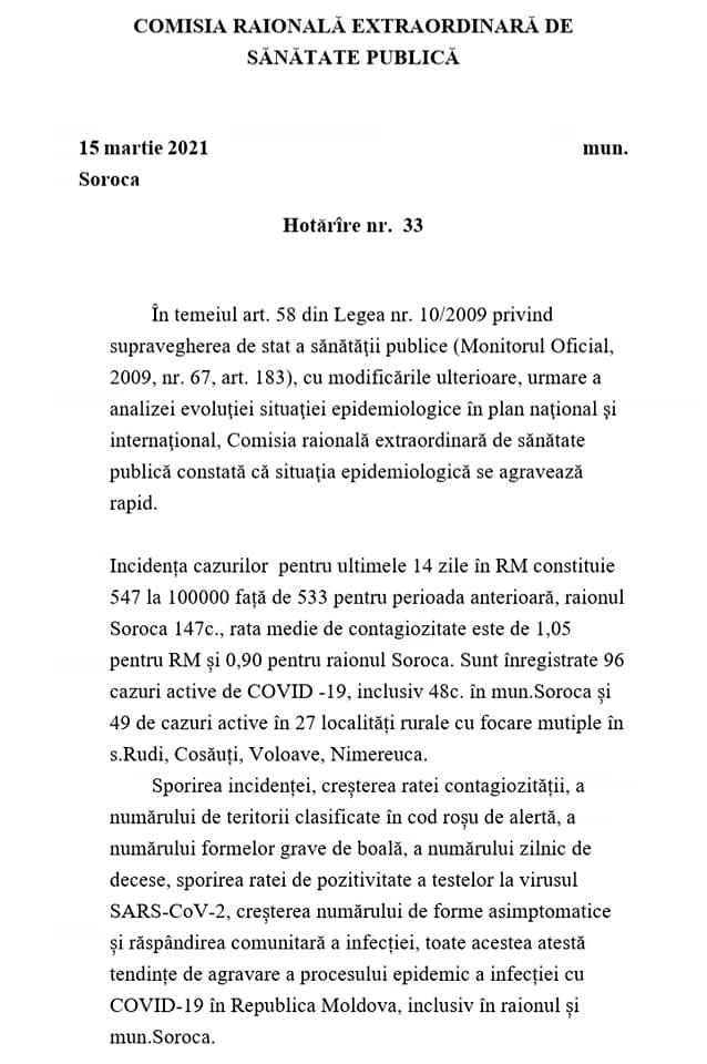 /DOC/ Situația epidemiologică în raionul Soroca se agravează. 22 de localități sub Cod Roșu de răspândire a infecției COVID-19 1 18.04.2021