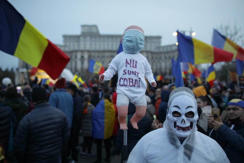 Foto Жители Румынии вышли на массовые акции протестов, связанные с ограничениями из-за пандемии COVID-19 3 29.07.2021