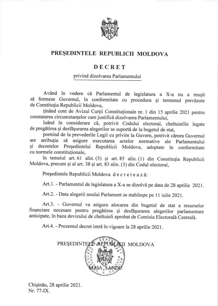 Foto Президент Молдовы Майя Санду объявила о роспуске Парламента и назначила дату выборов 2 20.09.2021