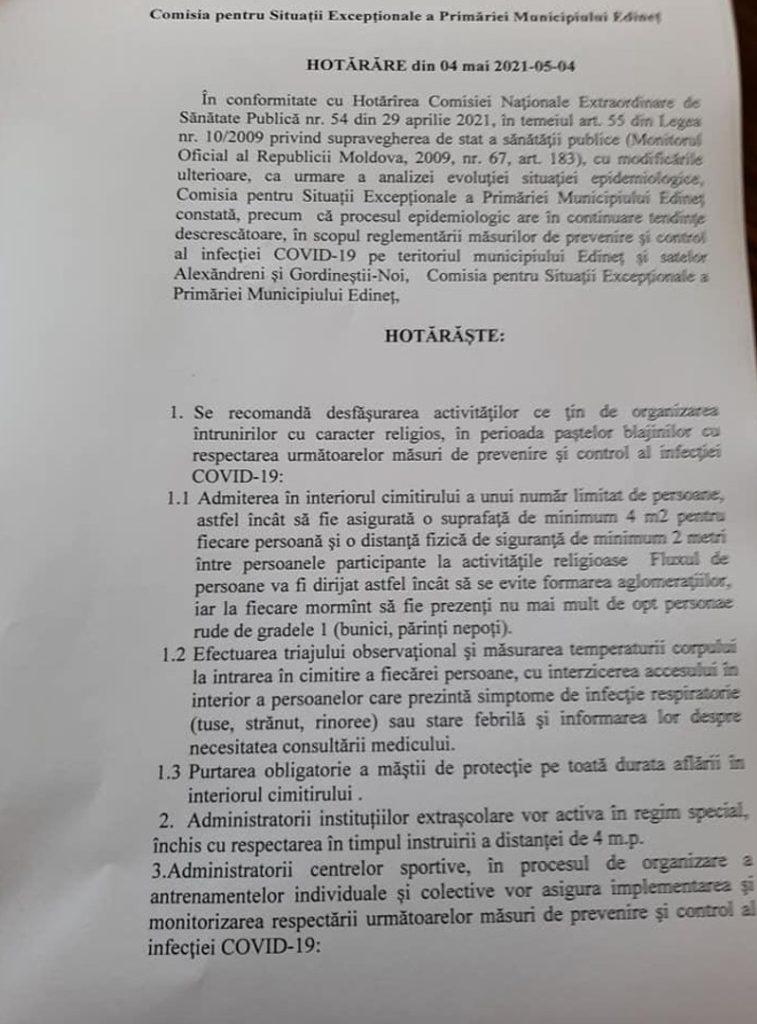 Foto /DOC/ Locuitorii raionului Edineț nu vor mai avea acces în cimitire de Paștele Blajinilor 3 18.09.2021