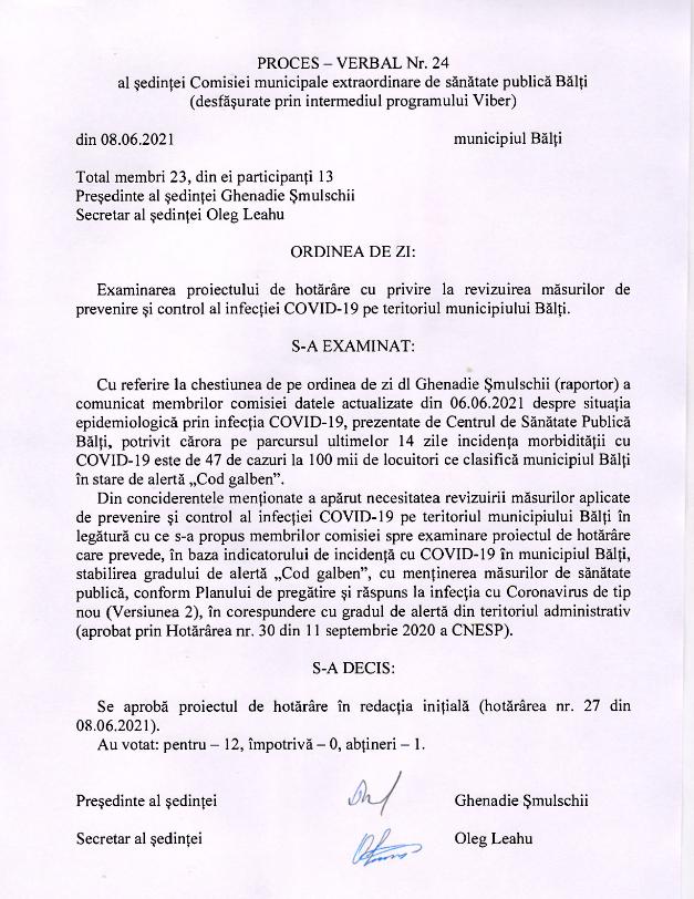 Foto Чрезвычайная комиссия по общественному здоровью объявила в Бэлць «жёлтый код» по коронавирусной инфекции 2 21.06.2021