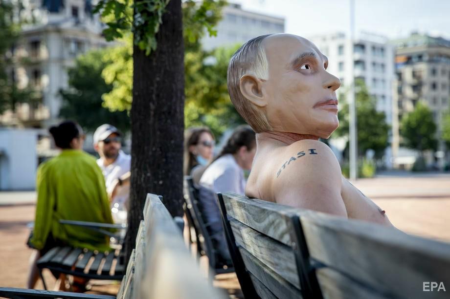 """Foto """"Путин"""" с наколкой Сталина пришел на митинг в поддержку Навального в Женеве 5 28.07.2021"""
