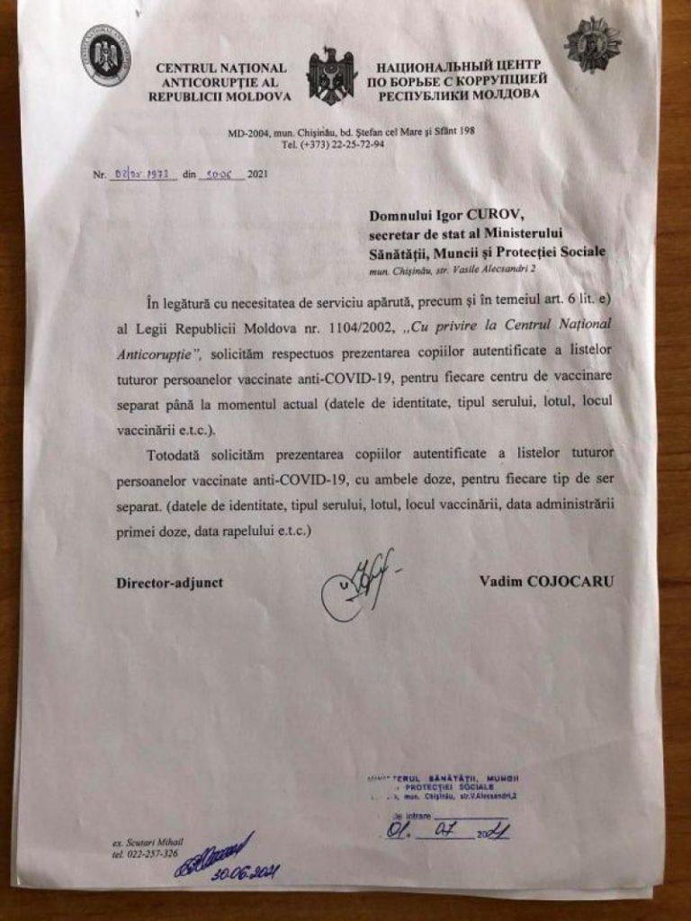 """Foto /DOC/ Reacția Centrului Național Anticorupție după ce Ala Nemerenco, a spus că """"CNA a cam frânat și nu s-a autosesizat"""" în privința certificatelor de vaccinare false 1 27.10.2021"""