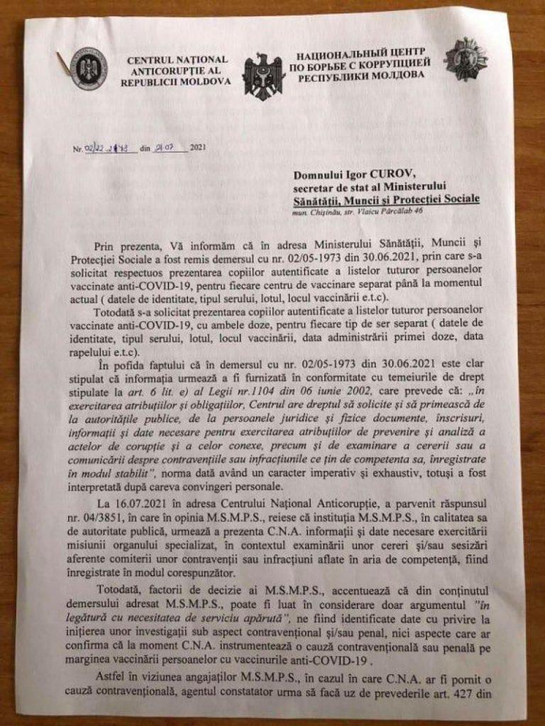 """Foto /DOC/ Reacția Centrului Național Anticorupție după ce Ala Nemerenco, a spus că """"CNA a cam frânat și nu s-a autosesizat"""" în privința certificatelor de vaccinare false 2 27.10.2021"""