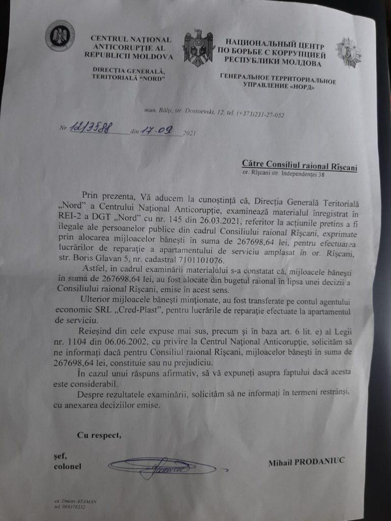 Foto /DOC/ Cheltuieli nejustificate la Consiliul Raional Rîșcani depistate de CNA 3 27.10.2021
