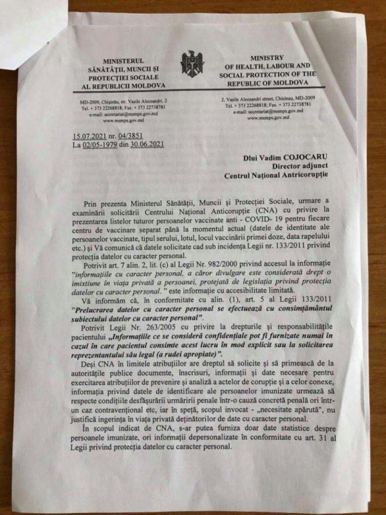 """Foto /DOC/ Reacția Centrului Național Anticorupție după ce Ala Nemerenco, a spus că """"CNA a cam frânat și nu s-a autosesizat"""" în privința certificatelor de vaccinare false 3 27.10.2021"""