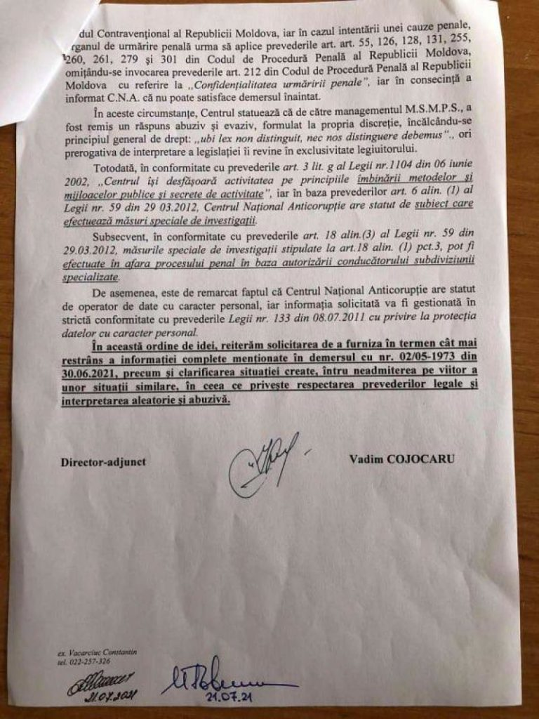 """Foto /DOC/ Reacția Centrului Național Anticorupție după ce Ala Nemerenco, a spus că """"CNA a cam frânat și nu s-a autosesizat"""" în privința certificatelor de vaccinare false 5 27.10.2021"""