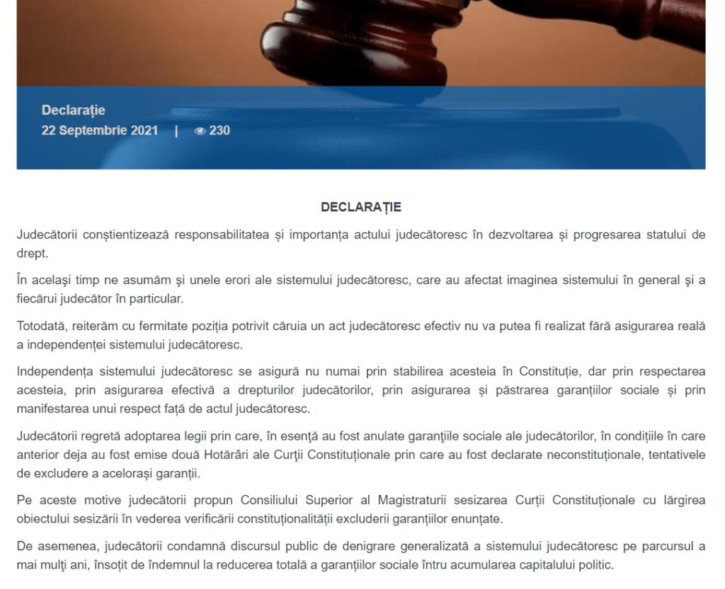 """Foto /DECLARAȚIE/ Judecătorii din R.Moldova pot rămâne fără garanții sociale: """"Independența sistemului judecătoresc se asigură prin garantarea efectivă a drepturilor magistraților"""" 2 27.10.2021"""