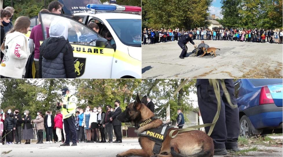 Foto /VIDEO/ Elevii unui liceu din Bălți au urcat la volanul mașinii de poliție și au participat la reținerea unui infractor 1 17.10.2021