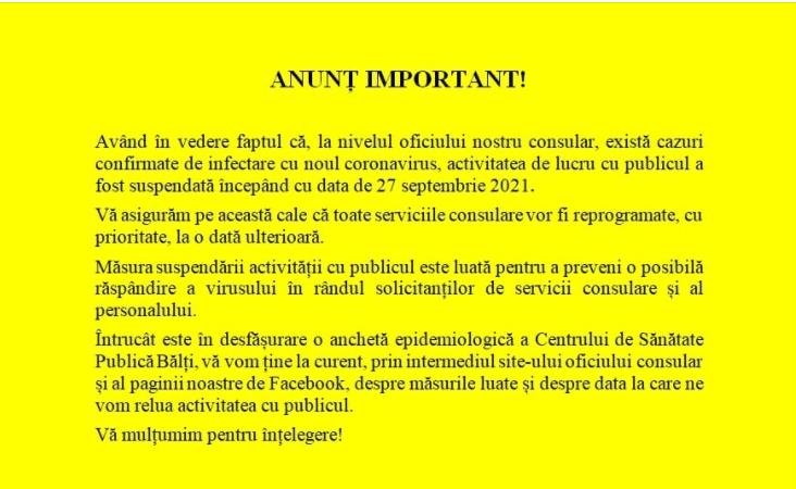 """Foto Consulatul General al României la Bălți a intrat în carantină: """"Toate serviciile vor fi reprogramate cu prioritate"""" 2 17.10.2021"""