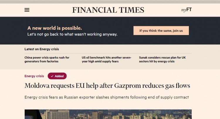 Foto Moldova solicită ajutorul UE după ce Gazpromul reduce livrările de gaze 1 27.10.2021