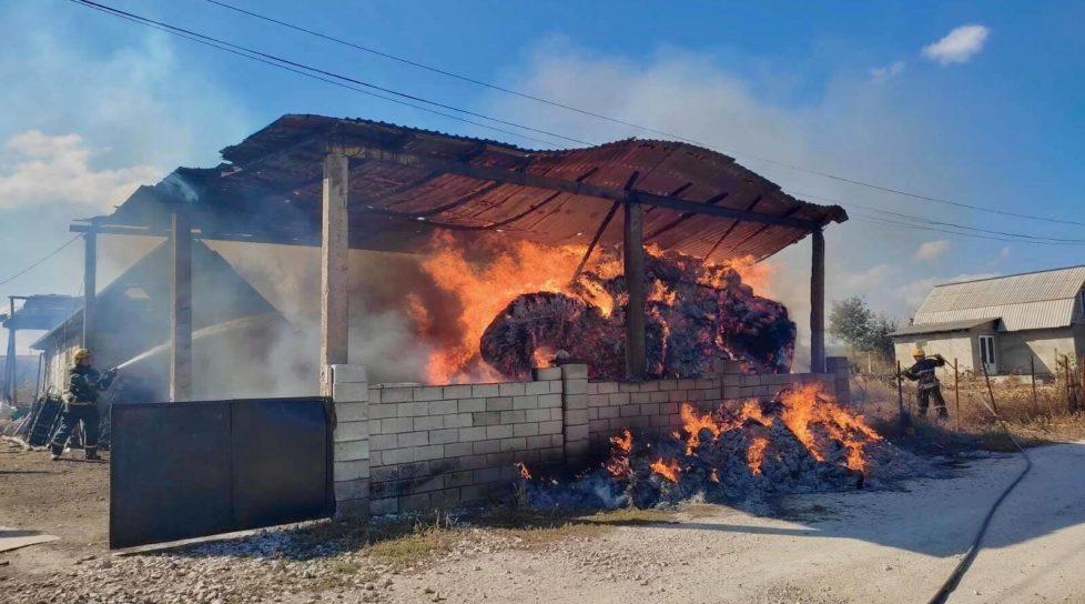 Foto Сильный пожар в Фалештах: сгорел склад кормов для животных 1 17.10.2021