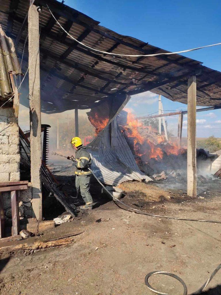 Foto Сильный пожар в Фалештах: сгорел склад кормов для животных 7 17.10.2021