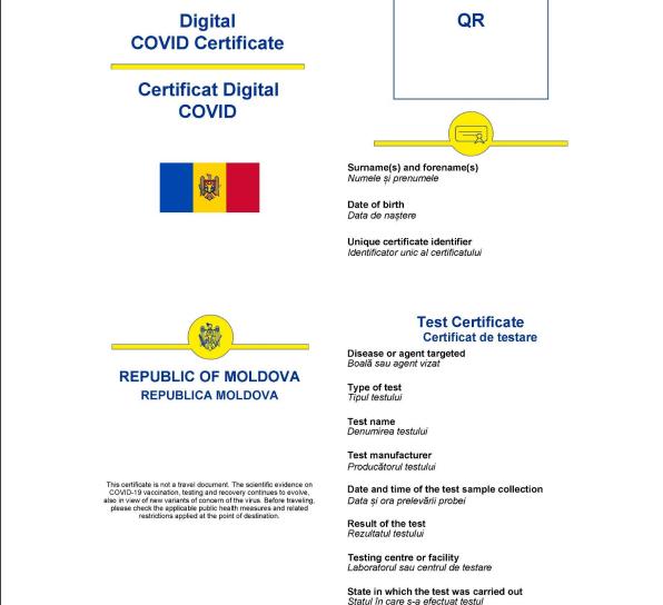 С сегодняшнего дня граждане Молдовы могут скачать новый сертификат COVID-19